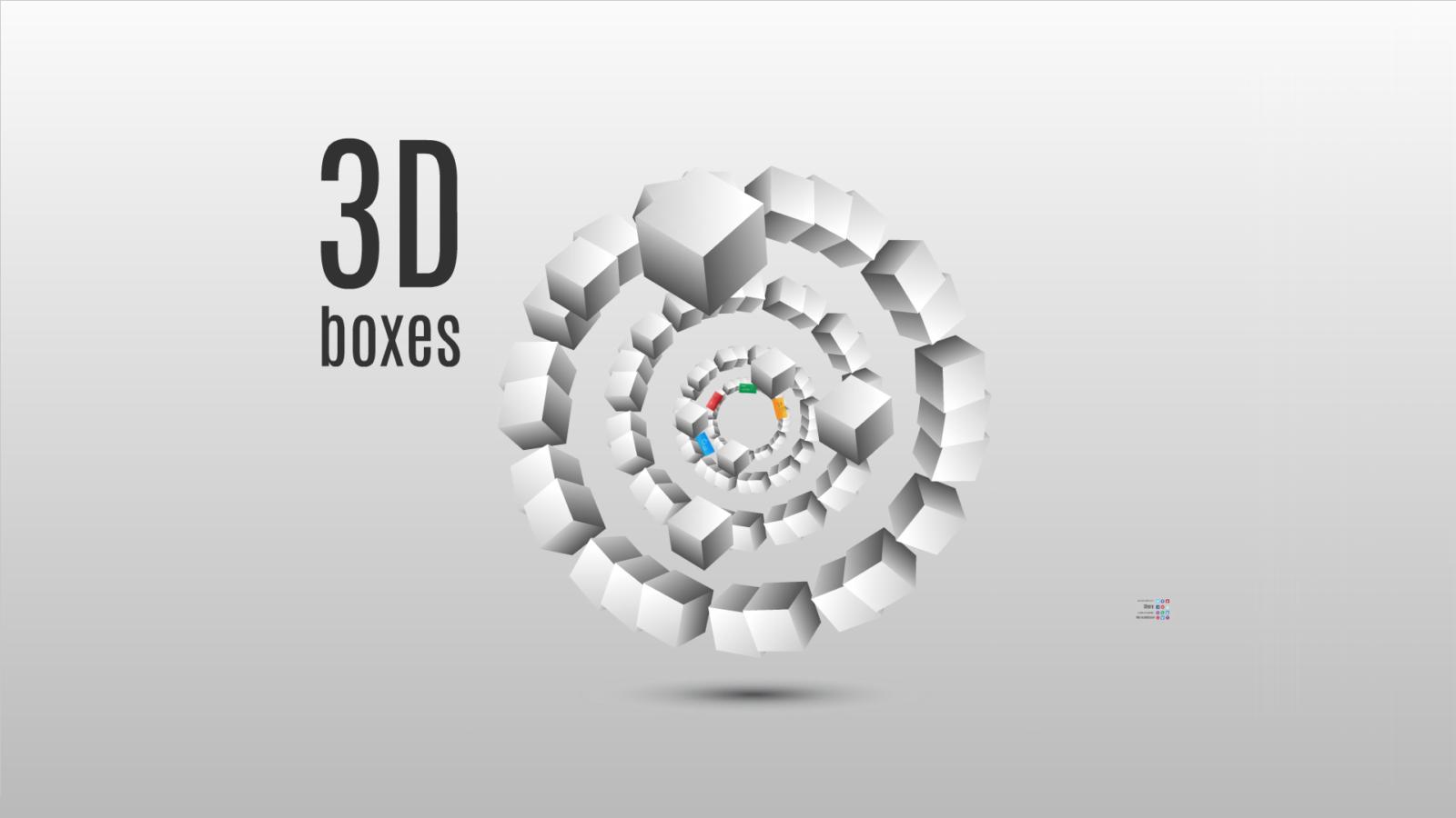 3D boxes Prezi template