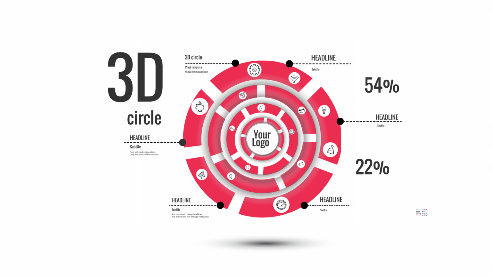 3D circle Prezi template