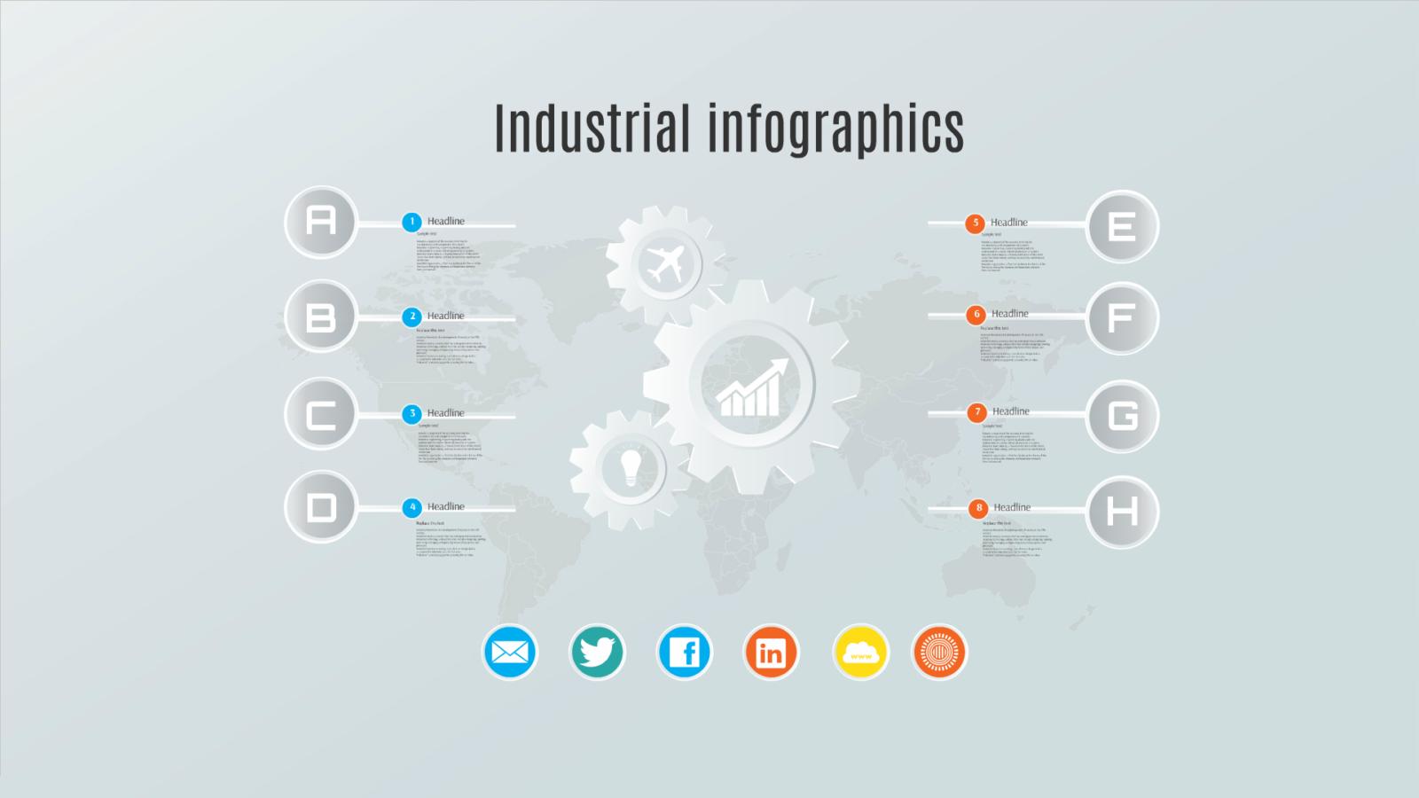 Industrial infographics prezi template for Prezzi lago design