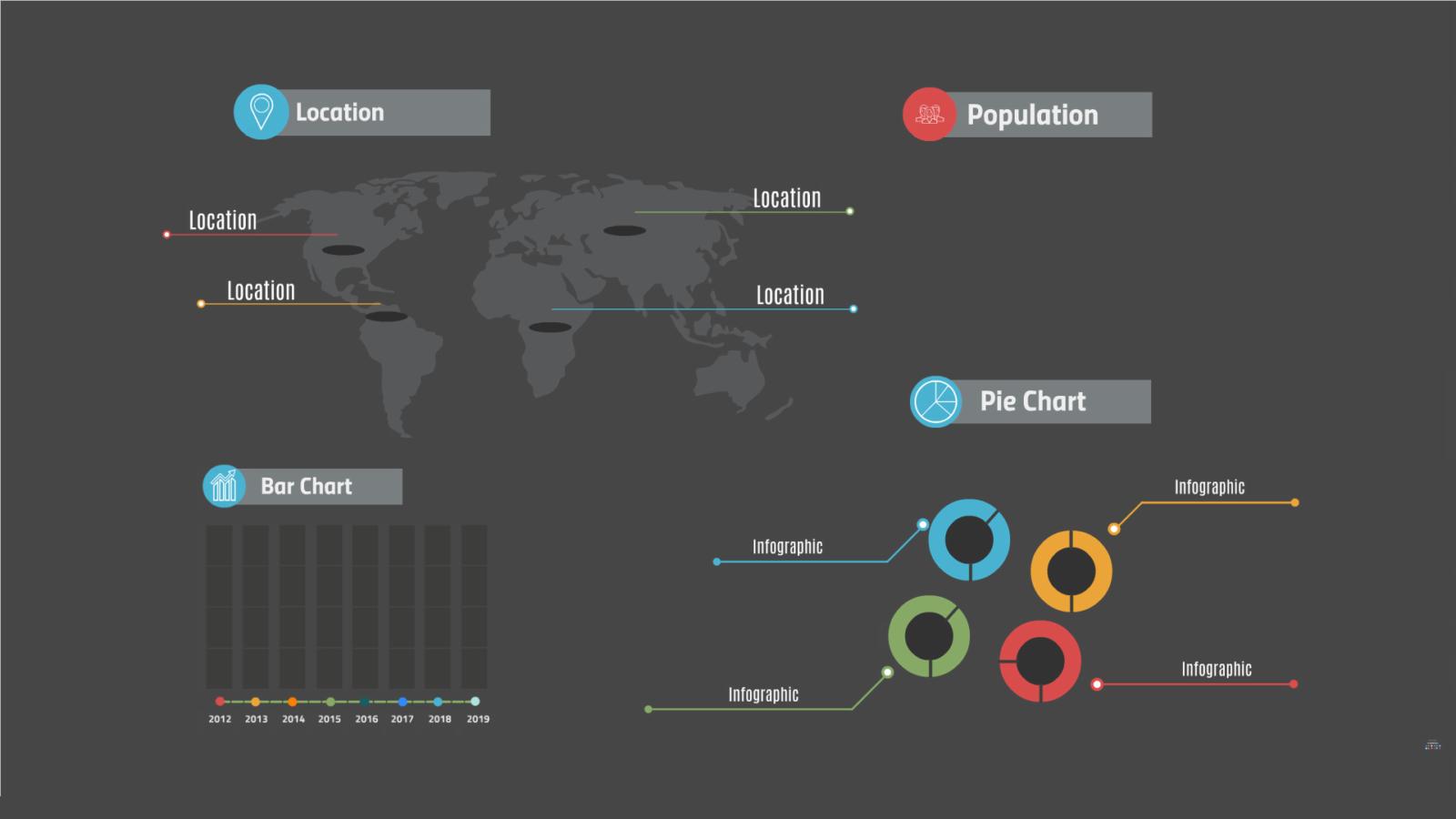 dark infographics layout