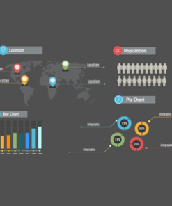 Infographics layout on a dark background Prezi template