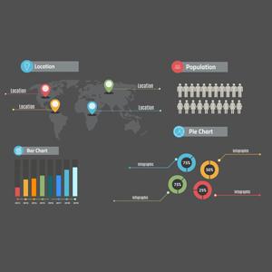 Infographics layout on a dark background Prezi template