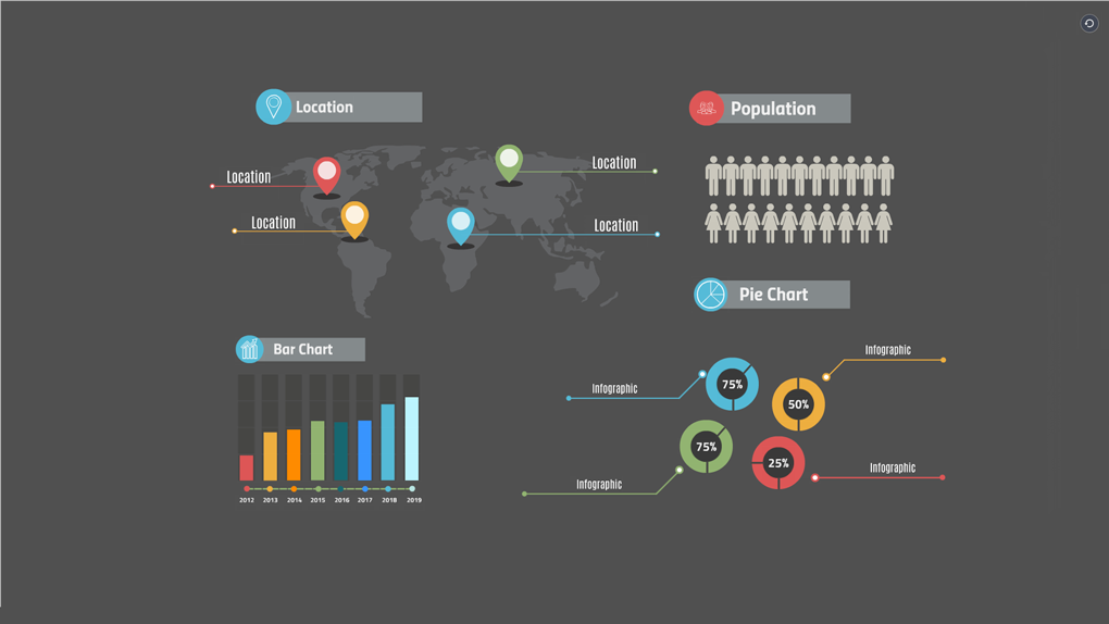 Dark infographics layout preziland preziland infographics layout on a dark background prezi template cheaphphosting Images