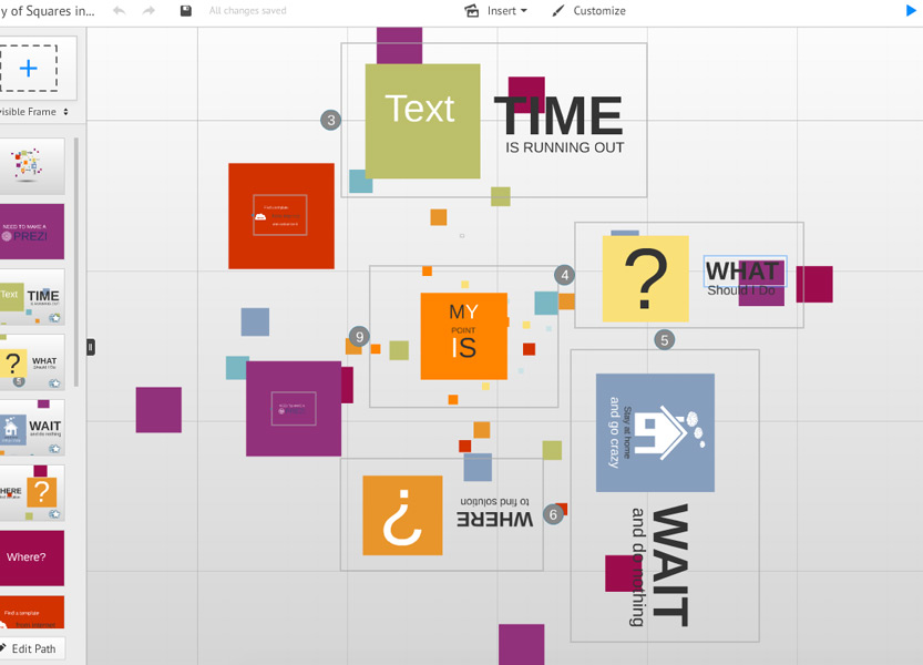 Square of time example how to change Prezi
