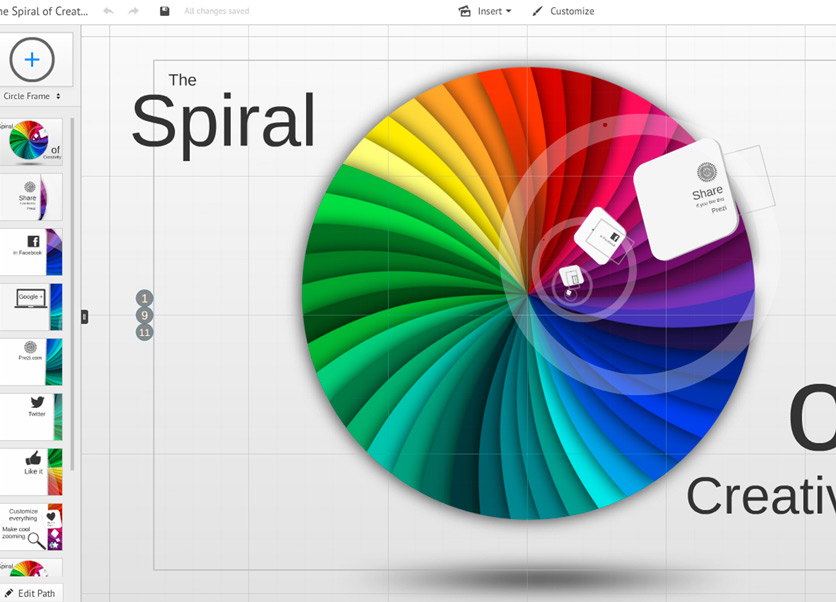 how to change prezi template spiral of creativity