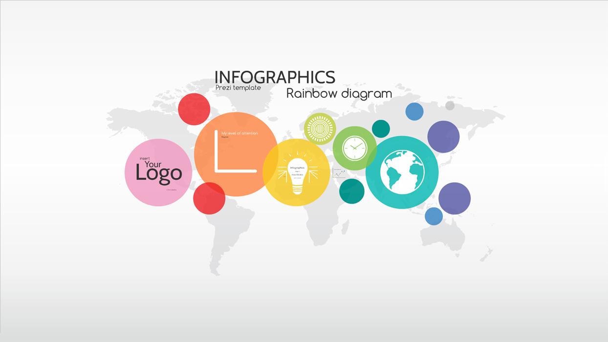 Infographics rainbow diagram prezi template preziland for Presi templates