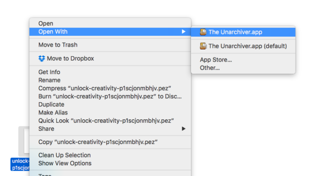 open pez file on a mac with unarchiver